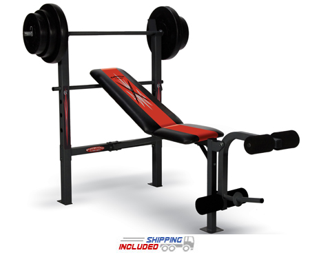 Buy weight sets and benches - Competitor Strength Training Bench w/ 100 lb. Weight Set -- Impex (CB-204)