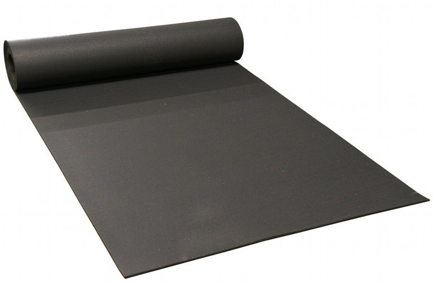 "black rolled rubber fitness flooring 4' wide x 5/16"" thick"