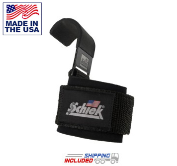 Schiek USA Made Power Lifting Hooks with Padded Wrist Supports