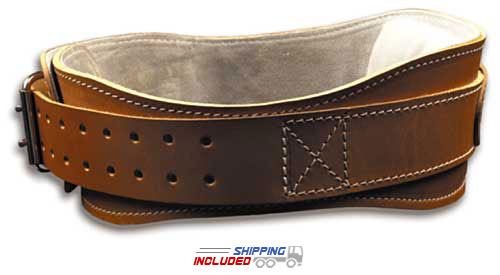 Schiek L2004 Contoured Leather Weight Lifting Belt with Padded Lumbar Support