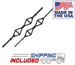 T-Grip Barbell Single Straight Handle Olympic Bar w/ Rotating or Solid Ends