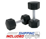 TKO Tri Grip Commercial Rubber Hex Dumbbells