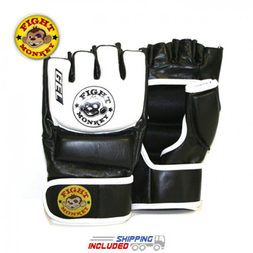 Fight Monkey Leather MMA/Bag Pro Training Gloves