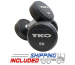 TKO Rubber Encased Solid Steel Dumbbells