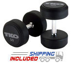 Rubber encased dumbbells