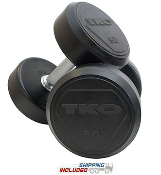 TKO 828RR Rubber Encased Solid Steel Dumbbells for Commercial Gyms