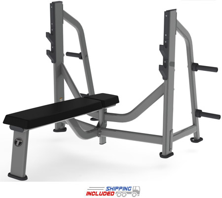 M Series Commercial Olympic Flat Bench with Olympic Weight Storage