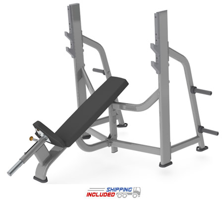 M Series Commercial Olympic Incline Bench with Olympic Weight Storage