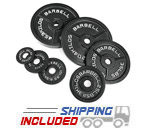 Black Cast Iron Standard Barbell Olympic Plates