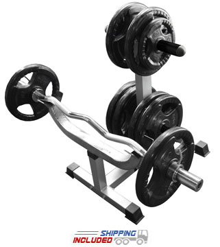 Valor Athletics CB-7 Standing Curl Bar Station with Olympic Plate Storage