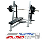 York Barbell Olympic Flat Weight Lifting Bench with Gun Rack Bar Catches