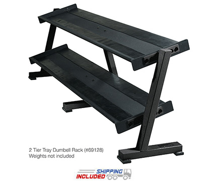 York Barbell 69128 Two-Tier Solid Head Dumbbell Shelf Rack