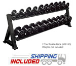 York Barbell 69130 Commercial 2-Tier Pro-Style Dumbbell Rack with Powder Coat Finish by Matrix