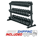 York Barbell 69127 3-Tier Space Saving Hex Dumbbell Rack