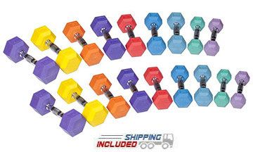 York RHX-COLOR Commercial Color Coded Rubber Hex Dumbbells