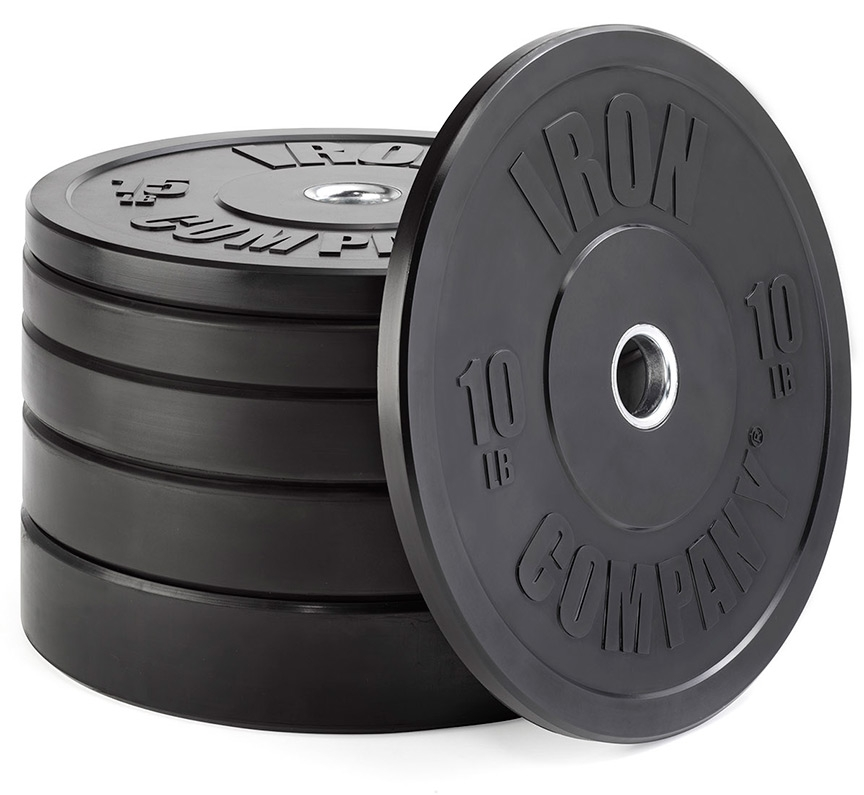 IRON COMPANY rubber bumper plates for barbell deadlifts.