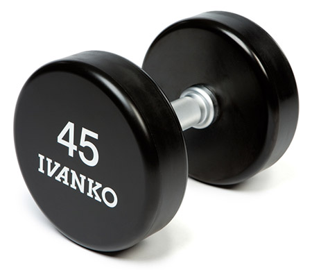 Ivanko barbell solid steel dumbbells with urethane coating for sale on IRON COMPANY GSA contract for government sales.