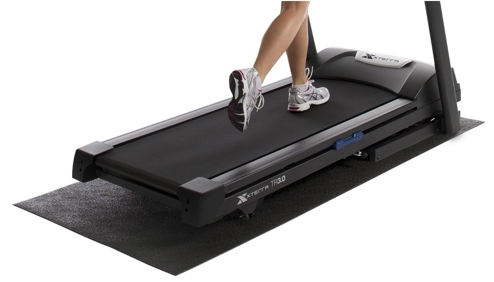Cardio equipment mats made from recycled rubber, plastic and vinyl for treadmills, ellipticals, steppers and exercise bikes