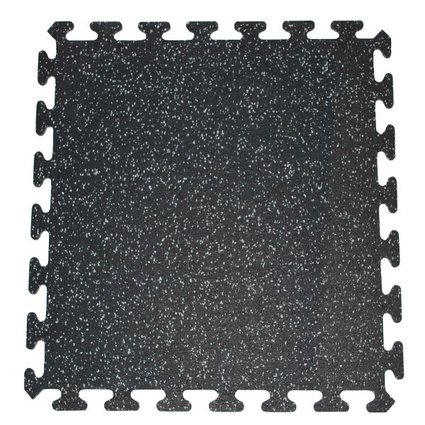 Recycled interlocking puzzle mats for gym floors to protect against dropped kettlebells, barbells and dumbbells