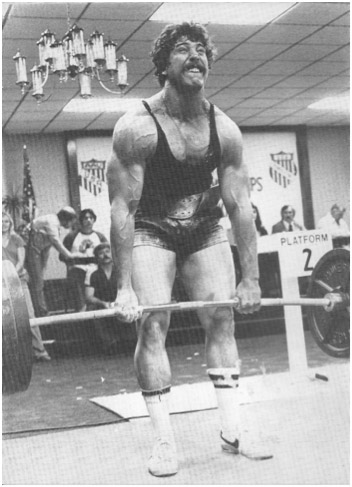 Mark Chaillet powerlifting champion and world record holder shown performing deadlifts