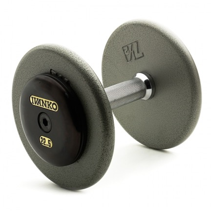 Ivanko pro-style dumbbells with chrome handles, cast iron plates and steel end caps.