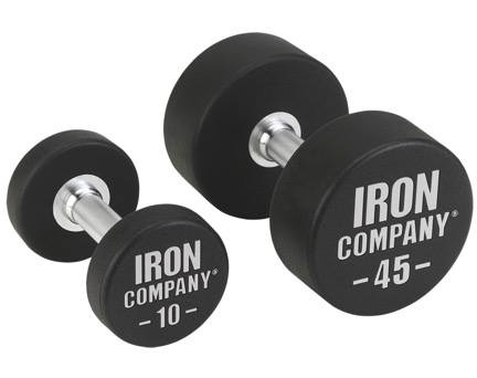 IRON COMPANY urethane coated solid steel dumbbell sets for hardcore use in commercial gyms and clubs.