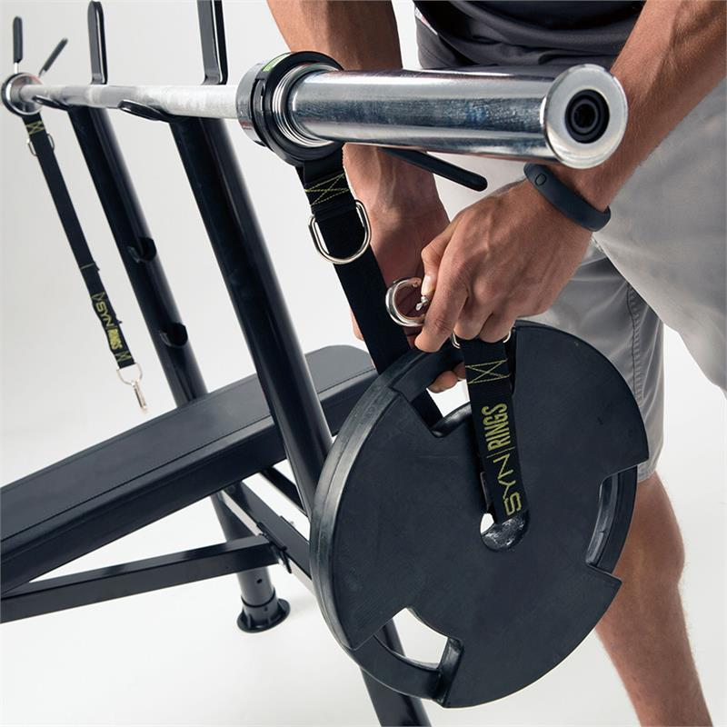 MostFit SYN Rings for adding instability to Olympic barbell bench pressing