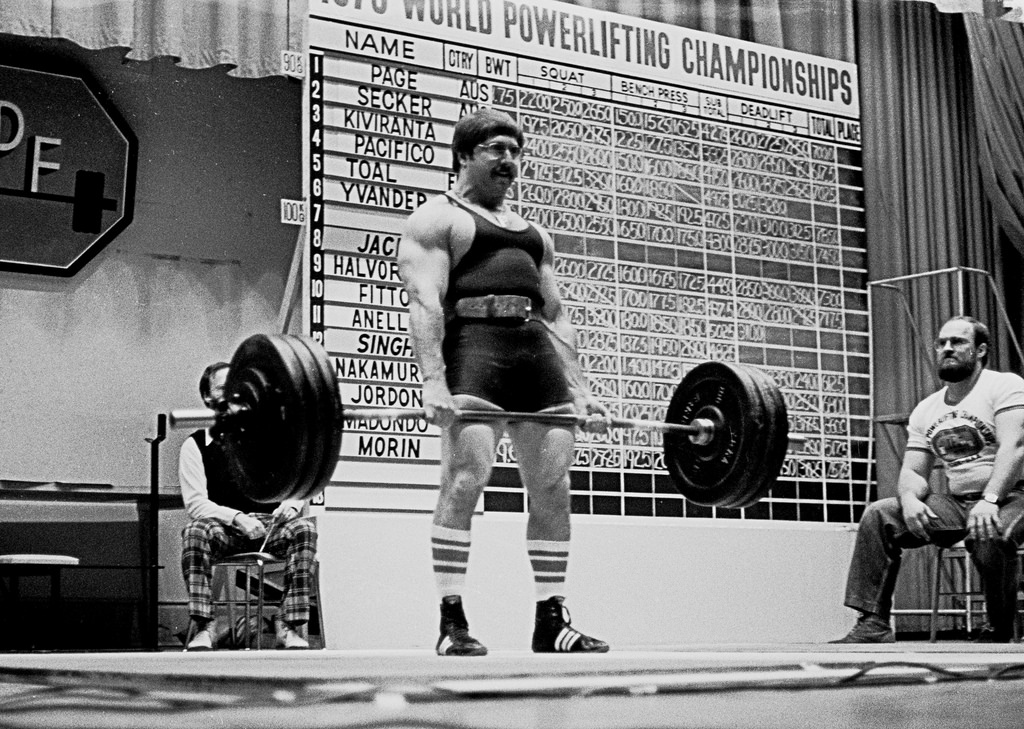 Powerlifter Larry Pacifico deadlifting in 1976