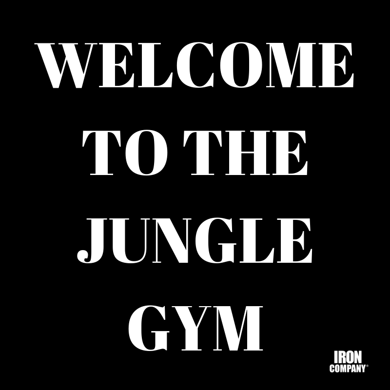 WELCOME TO THE JUNGLE GYM STRENGTH TRAINING EQUIPMENT BY IRON COMPANY