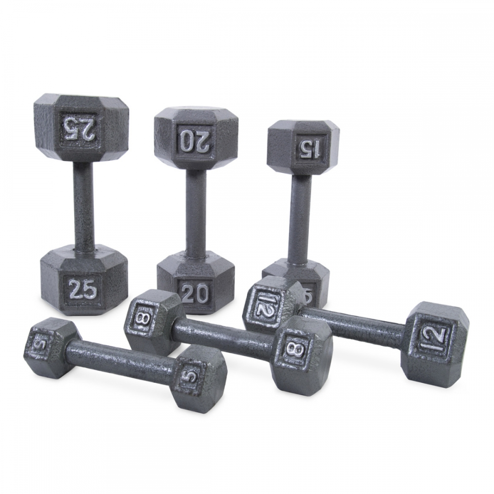 Cast Iron Hex Dumbbells and Sets for Dumbbell Training Workouts