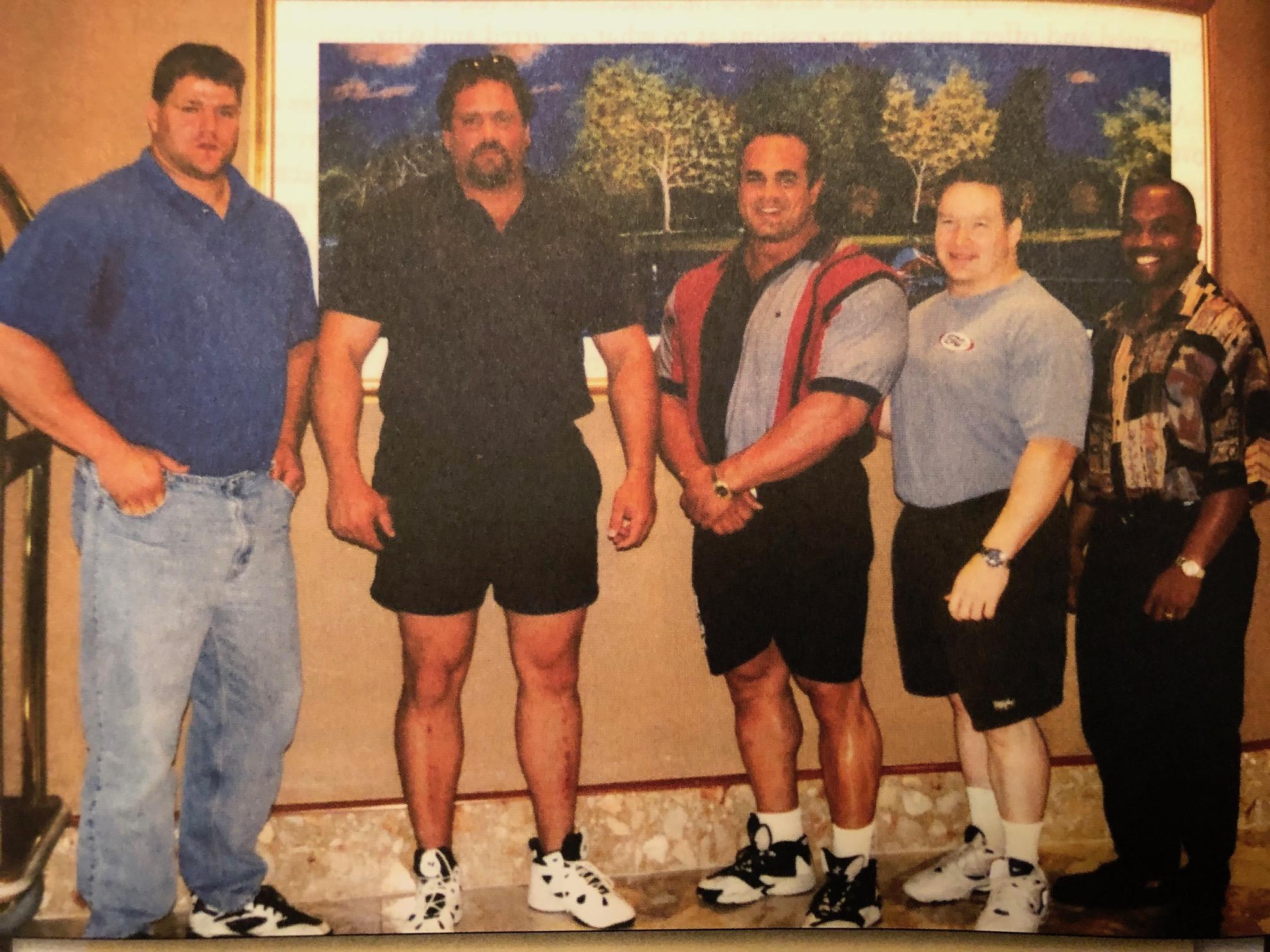 Powerlifters Brad Gillingham, Ed Coan, Gene Bell, Bobby Myers and Anthony D'Arrezo