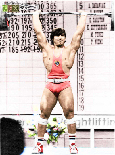 Weightlifter David Rigert toys with 220 kilos (484-pounds) weighing 195.
