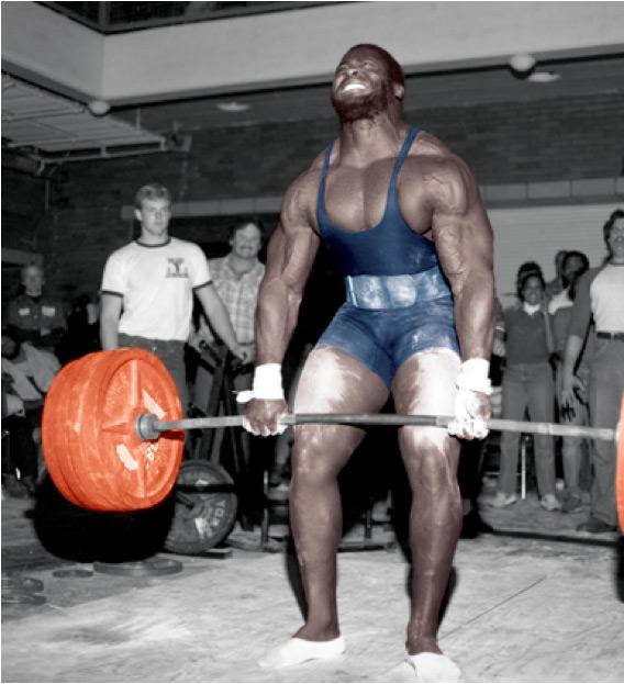 Powerlifter John Gamble performing an 845 lb. barbell deadlift