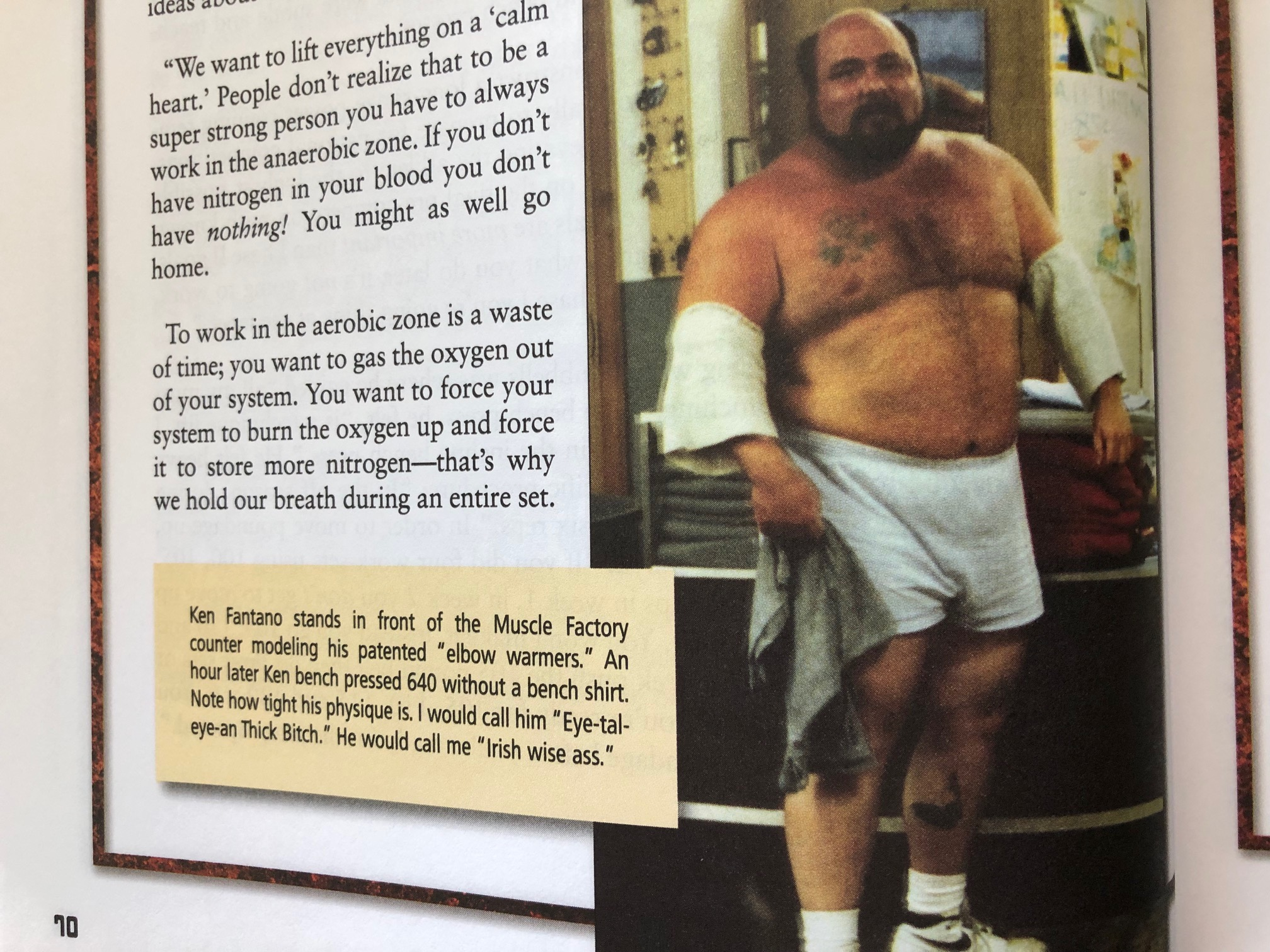 Powerlifter Ken Fantano once bench pressed 633 lbs. raw with a paused double. Image courtesy of Purposeful Primitive by Marty Gallagher