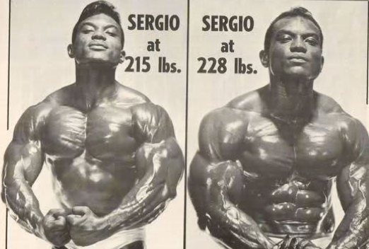 Bodybuilder Sergio Oliva thick muscle mass gains.