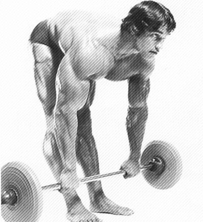 Bodybuilder Arnold Schwarzenegger performing barbell stiff leg deadlifts for proper hamstring exercise