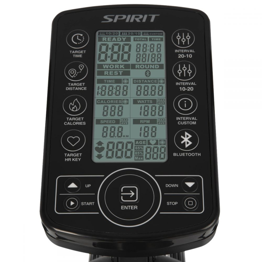 Spirit Fitness AB900 fan bike console for RPM, watts, calories, time and rounds.