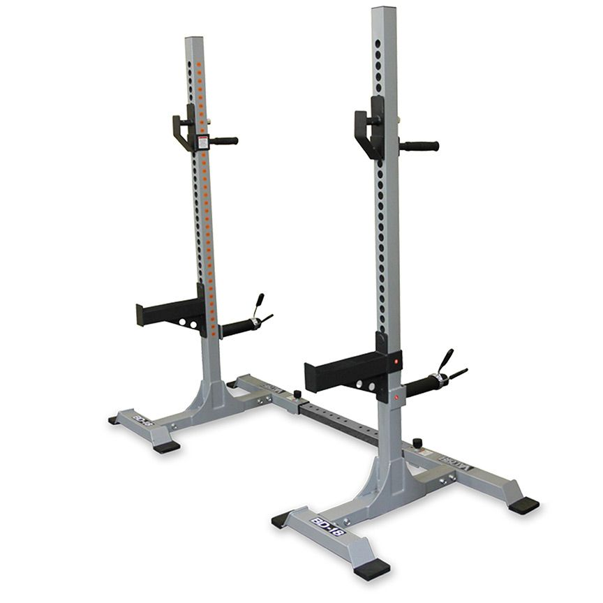 Squat Stand Towers with Dip Handles, Spotter Bars, Dip Handles and Storage Pegs