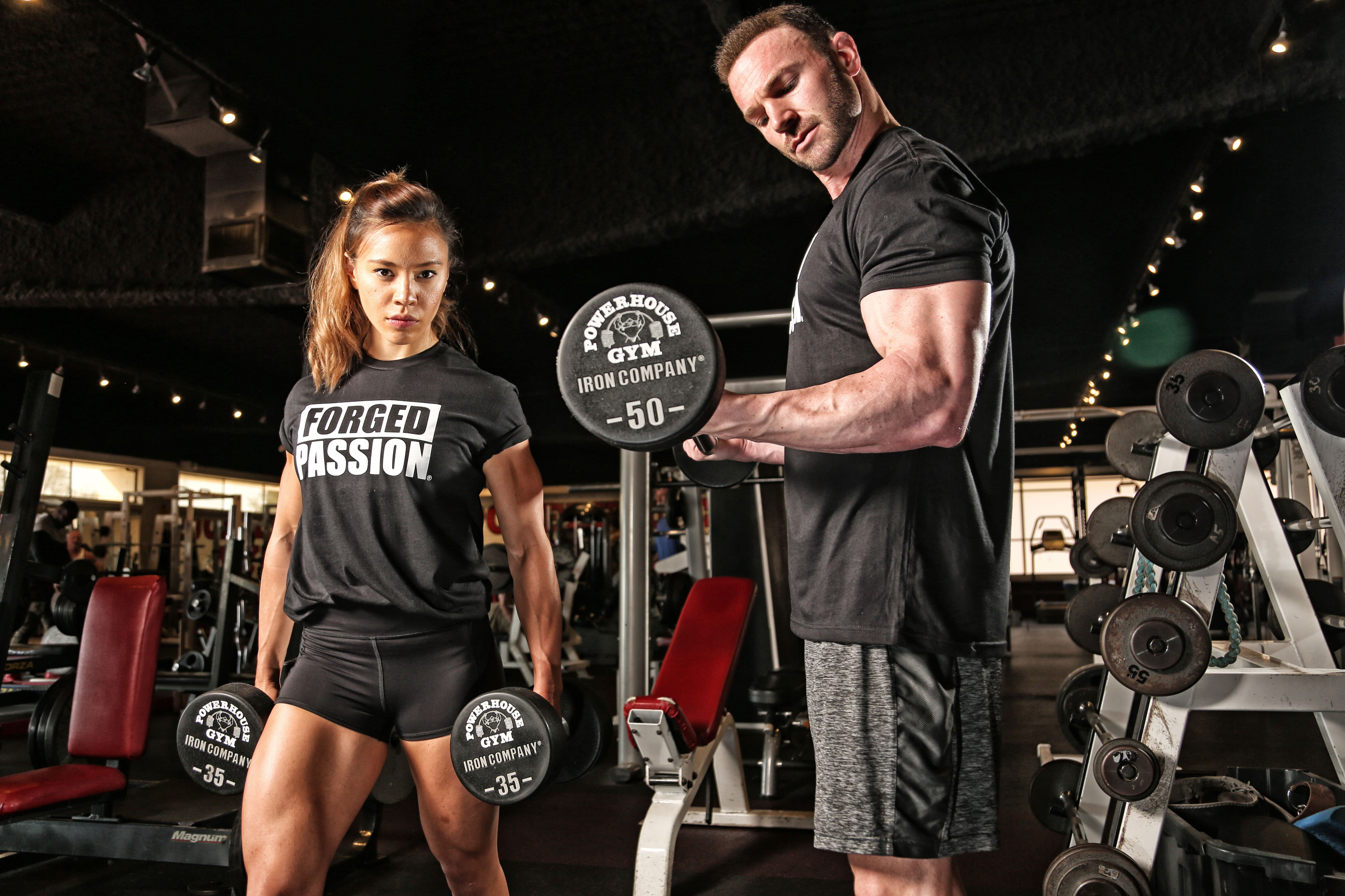 Bodybuilder exercises pump up the muscle for maximum growth.
