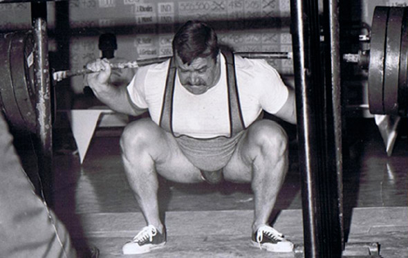 Powerlifter Hugh Cassidy performing a barbell squat