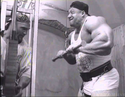 Bodybuilder Dorian Yates and training partner Leroy Davis
