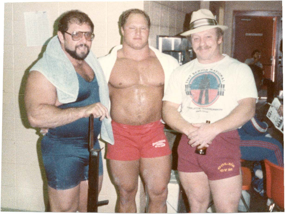 Powerlifters Larry Pacifico, Joe Ladiner and Fred Hatfield