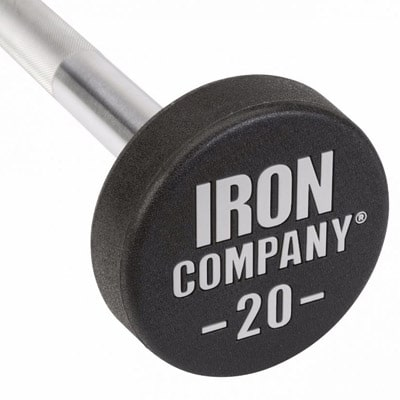 IRON COMPANY Urethane Barbells with laser engraved logo