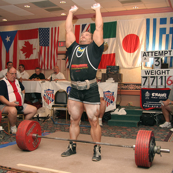 IRON COMPANY athlete and Powerlifting champion Kirk Karwoski getting psyched up for a heavy barbell deadlift.