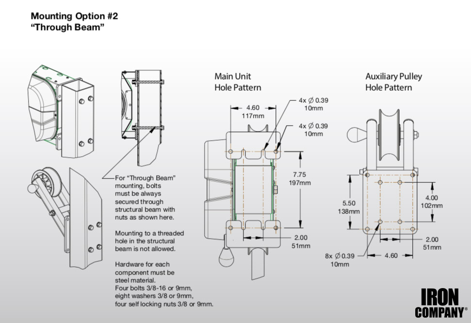 Marpo Kinetics X8 Rope Trainer mounting through beam instructions