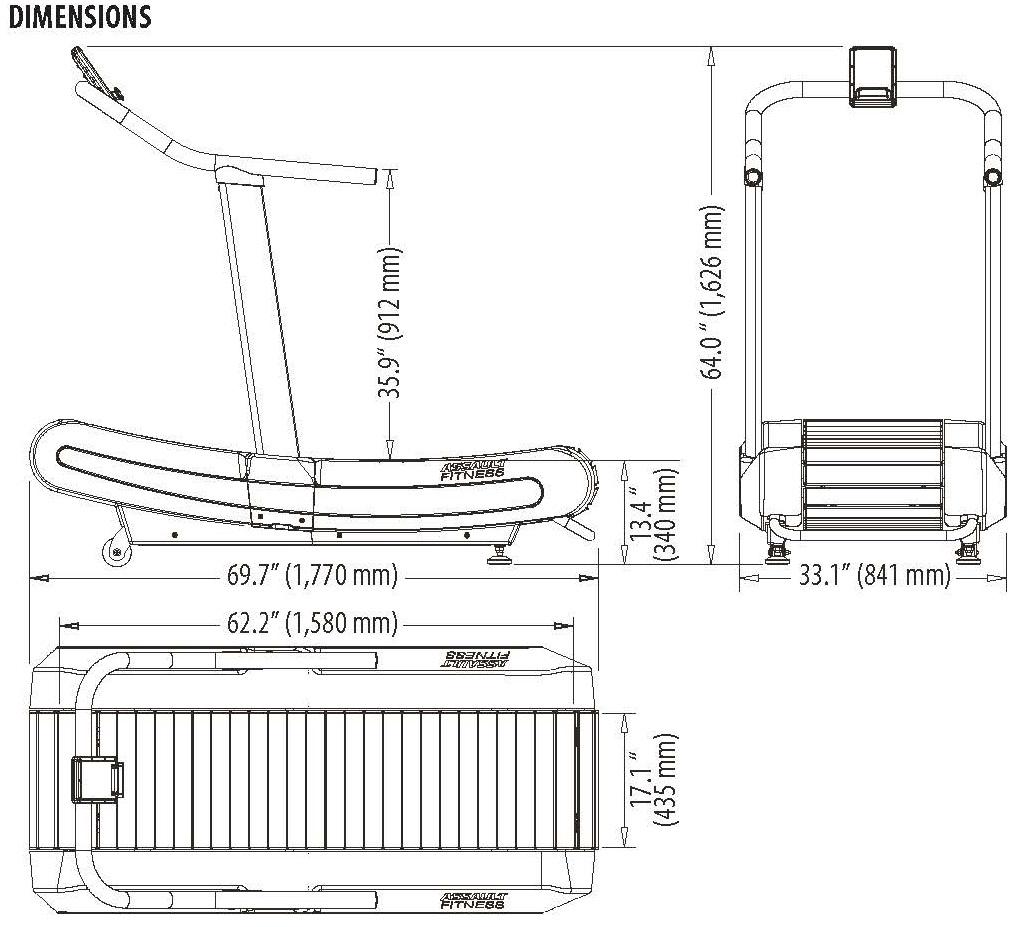 Assault Fitness AirRunner Manual Treadmill Dimensions