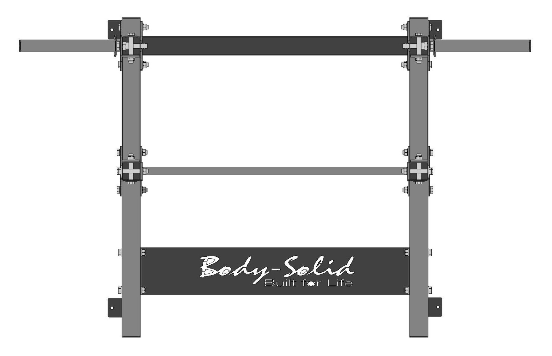 Body-Solid SPR500BACK Half Rack with Back Extension Floor Plan Top View