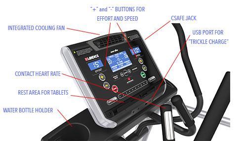 Landice E9 Elliptical Cardio Console Features