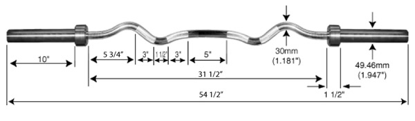 Ivanko Barbell OBZS-30 USA Made Stainless Steel Olympic Curl Bar