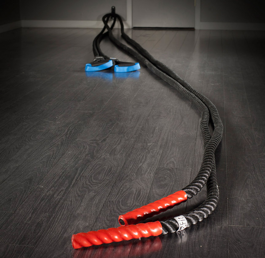 The Abs Company BattleRope ST Length Comparison to 40 Foot Heavy Rope